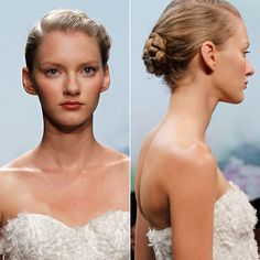 Brides: Runway Hair and Makeup Trends. A variety of twisted, braided buns made for a pretty, girlish look at Monique Lhuillier. Though the styles seem intricate, they also had a fuss-free element%u2014no worries about hair getting mussed throughout the evening.