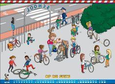 vertelprent Op de fiets Speech And Language, Transportation, Kindergarten, Preschool, Clip Art, Cartoon, Sports, Net, Busy Board