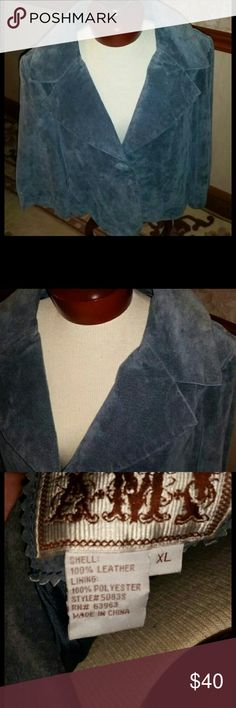 Blue/Gray Suede Jacket Size XL New with out tags! Beautiful suede jacket. Size XL New without tags never worn. Bought never wore. Button detail with back button and strap detail.  Sleeve measurements top seam 18 inches, bottom seam 11 inches, width at waist 22 inches, top of collar to bottom 24 inches Jackets & Coats Blazers