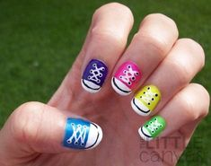 The Little Canvas: 31 Day Challenge - Day 7 - Rainbow Nails - Converse Nail Art! Funky Nail Art, Funky Nails, Cool Nail Art, Nail Art Kids, Teen Nail Art, Nail Art For Girls, Crazy Nails, Girls Nails, Simple Nail Designs