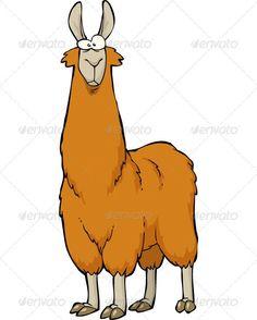 Lama Llama, alpaca, animal, brown, cartoon, character, cute ...