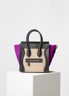 Nano Luggage Shoulder Bag in Baby Grained Calfskin and Nubuck - Céline