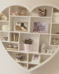 Wooden Heart Shaped Wall Shelf Shabby Chic Storage Display