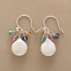 """PEARL Pearl & Gem Earrings Colorful gems of pink quartz, london blue topz, citrine and apatite twinkling above echo the iridescent hues of luminous cultured pearls. Sterling silver; French wires. Ours exclusively, handmade in USA. 1-1/8""""L. $48"""