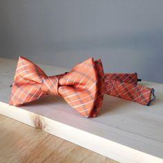 Noeud papillon orange / corail à carreaux - pré noué - cousu à la main - unique - gentleman coloré - mariage dans le sud