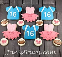 janisbakes, tutus and jerseys, footballs, bows, decorated cookies, gender reveal cookies