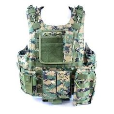 Diamond Tactical MOLLE StrikeForce Modular Plate Carrier Loaded w/ 6 Integrated Pouches & Armor Plate Ready - Ultra High Quality Operator Grade 600D Rugged Construction - Digital Woodland Camo (Misc.)
