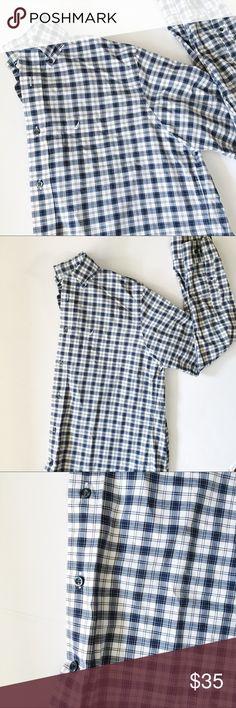 "[nautica] mens blue grey white plaid button down D16. size medium. 24."" pit to pit. length 30"" Nautica Shirts Dress Shirts"