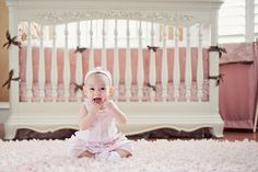 Yes, cute baby...but..love the crib! shabby chic nursery | Pink Shabby Chic Nursery | View La La Photography