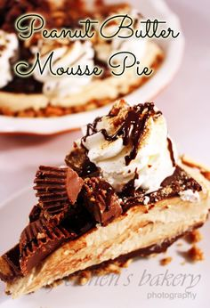 NO BAKE~ Peanut Butter Mousse Pie! ganache and pretzels! this Pie is DIVINE!!