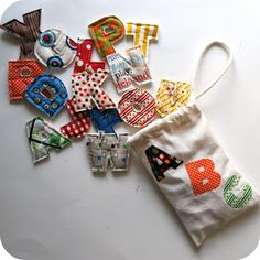 Chez Beeper Bebe: Alphabet Set 2 layers of cotton batting between letters use magnets in them so they can hang on frig, etc.