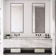 Dreaming of a luxurious or designer bathroom? We've gathered together lots of gorgeous bathroom a few ideas for small or large budgets, including baths, showers, sinks and basins, plus master bathroom decor suggestions. Minimalist Bathroom Design, Modern Bathroom Design, Bathroom Interior Design, Minimalist Decor, Modern Bathrooms, Bathroom Designs, Beautiful Bathrooms, Minimalist Bathroom Inspiration, Minimal Bathroom