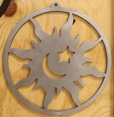 Sun Moon Star wall art cut with a CNC BurnTables Plasma Table.