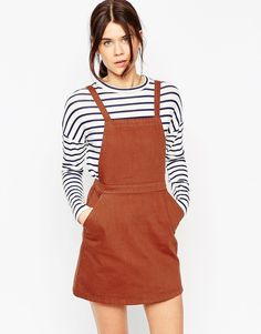 ASOS+Denim+Aline+Pinafore+Dress+In+Rust