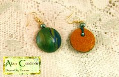 Green and Gold Marbled Earrings.   by Polyclay Delights