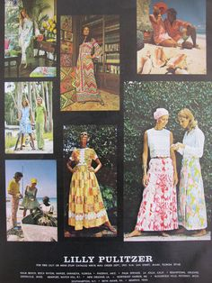 Vintage Lilly Pulitzer print ad that is an amalgamation of print ads that appeared in Vogue during the course of 1972 (upper left - Vogue, February 1972; lower left and upper right, Vogue November 1972).  And some may recognize dress in center bottom from one on display in the shop from our private collection.