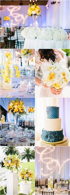Featured photographer: Jodee Debes; yellow wedding reception theme idea