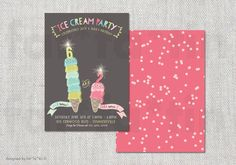 Summer Double Ice Cream Cones PRINTABLE Joint Birthday Party Invite | Custom Whimsical Girl Boy Kids Invitation PRINTED CARD / jpg / pdf by fatfatin on Etsy https://www.etsy.com/listing/188792609/summer-double-ice-cream-cones-printable