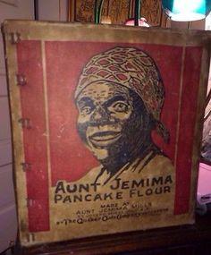 VINTAGE AUNT JEMIMA PANCAKE FLOUR CASE BOX QUAKER OATS COMPANY