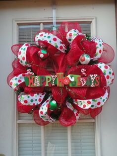 "Cute deco mesh wreath!! Needs to say ""Merry Christmas"""