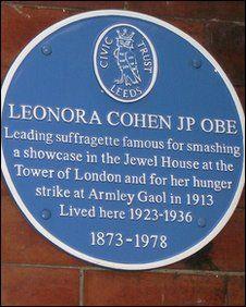 Leonora's blue plaque 2 Clarendon Villas, Clarendon Road, Leeds
