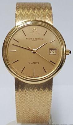 Vintage Baume Mercier 14k Yellow Gold Date Men's Watch 61g