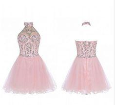 Halter Beading Charming A-Line Short Prom Dresses,Tulle Homecoming Dress Homecoming Dresses