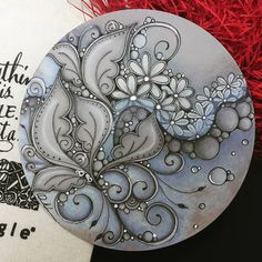 Zentangle - Artwork from Rebecca Kuan - Welcome to visit my FB Page:… Zentangle Drawings, Doodles Zentangles, Zentangle Patterns, Mandala Doodle, Mandala Art, Doodle Art, Crackpot Café, Magic Design, Floral Embroidery Patterns