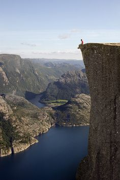Preikestolen, also known as Pulpit Rock, a massive cliff 2000 feet above Lysefjorden in Norway