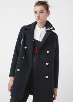 Manteau laine empiècements - Femme   MANGO France. Manteau Femme Mango Manteau LaineManteaux ... e0f81554ce5c