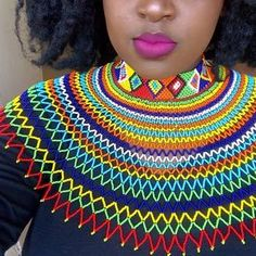African Necklace, African Beads, African Jewelry, African Wedding Attire, African Attire, Xhosa Attire, African Wear Dresses, Latest African Fashion Dresses, Diy Necklace Patterns