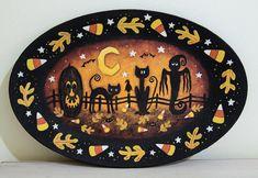 Folk Art Halloween Plate READY TO SHIP by RavensBendFolkArt
