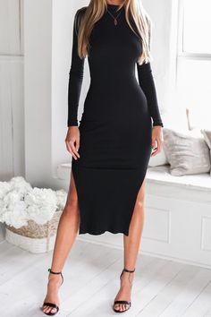 Black Side Slit Backless Long Sleeve Midi Dress