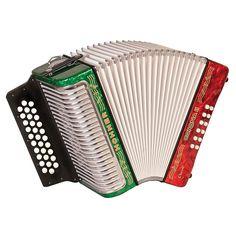"Hohner Corona II Classic, Key of ""FBbEb"" Diatonic ACC Red/White/Green"