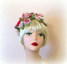 Vintage Garden Party Hat  Pink Posies  Hot by Cherrycrushretro, $32.00