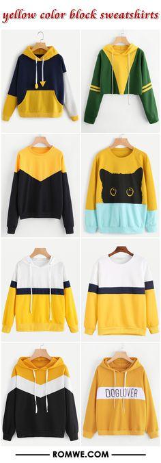 yellow color block sweatshirts 2017 - romwe.com