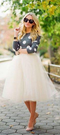 #fall #fashion / polka dot + tulle skirt