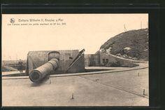 old postcard: Foto-AK Knocke sur Mer, schweres Geschütz der Artillerie-Batterie Wilhelm II.