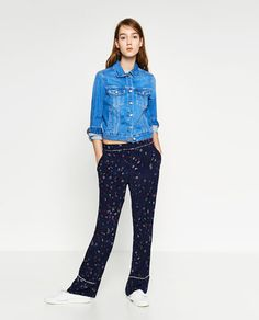 Image 1 of PAJAMA-STYLE TROUSERS from Zara