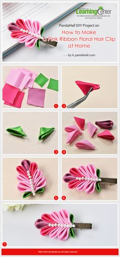 PandaHall DIY Project on How to Make a Pink Ribbon Floral Hair Clip at Home from LC.Pandahall.com