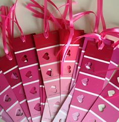 DIY Valentine's Day Keepsake bookmarks made from paint chips! - Not just for valentines day - paint chips can be punched with many shapes - make garlands - etc. Homemade Valentines, My Funny Valentine, Valentines Day Party, Valentine Day Crafts, Holiday Crafts, Valentine Ideas, Teacher Valentine, Valentines Notes, Christmas Holiday
