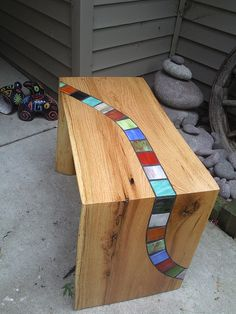 Live edge wood bench with colored glass inlay. Photo2047 | Flickr - Photo Sharing!