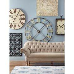 Edward 48 in. H x 48 in. W Round Wall Clock, Brown