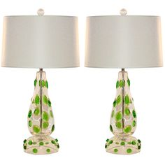 Pair of Vintage Murano Lamps with Emerald Green Prunts | From a unique collection of antique and modern table lamps at https://www.1stdibs.com/furniture/lighting/table-lamps/