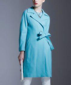 Light Blue Wool-Blend Trench Coat