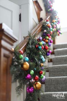 Home Interior Ideas Colorful Christmas Banister Garland Merry Christmas, Christmas Love, Winter Christmas, All Things Christmas, Christmas Wreaths, Christmas Crafts, Christmas Island, Colorful Christmas Tree, Christmas 2019