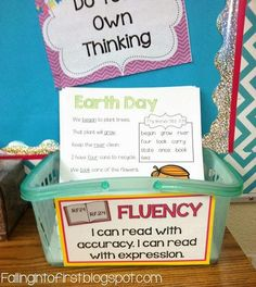 Place fluency passages in a tub or basket for early finishers to grab and practice at their seats. Reading Stations, Reading Centers, Reading Fluency, Reading Intervention, Reading Workshop, Teaching Reading, Guided Reading, Literacy Centers, Teaching Ideas