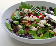 Salad with Pomegranate, Feta and Walnuts and a homemade salad dressing recipe.