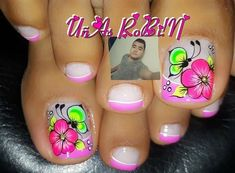 Uñas 💅 Pretty Toe Nails, Cute Toe Nails, Gorgeous Nails, Cute Pedicure Designs, Toe Nail Designs, Cat Nail Art, Cat Nails, Nail Picking, Summer Toe Nails