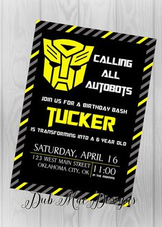 Online Invitations from Transformer birthday Transformers